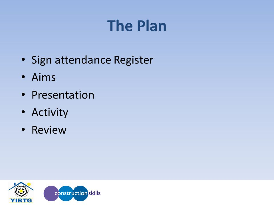 The Plan Sign attendance Register Aims Presentation Activity Review