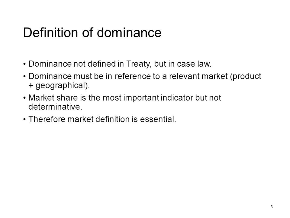 Market shares 4 0%100% Dominant Unlikely dominant 30%50–70%
