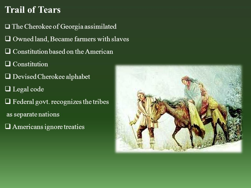 Trail of Tears  The Cherokee of Georgia assimilated  Owned land, Became farmers with slaves  Constitution based on the American  Constitution  Devised Cherokee alphabet  Legal code  Federal govt.