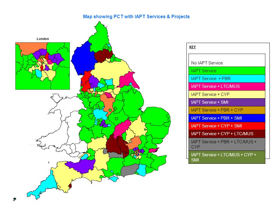 Map showing PCT with IAPT Services & Projects KEY No IAPT Service IAPT Service IAPT Service + PBR IAPT Service + LTC/MUS IAPT Service + CYP IAPT Servi
