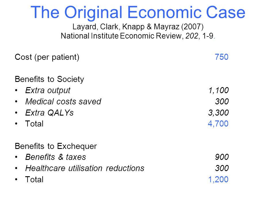 The Original Economic Case Layard, Clark, Knapp & Mayraz (2007) National Institute Economic Review, 202, 1-9. Cost (per patient) 750 Benefits to Socie