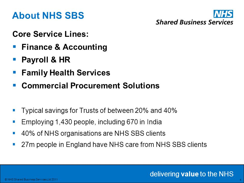 delivering value to the NHS 25 © NHS Shared Business Services Ltd 2011 Optimising Spend Services: Spend analysis and profiling Legally compliant routing and aggregation Optimisation analysis Procurement Services: Contract & framework portfolio Contracting calendar SAP Supplier catalogues Procurement : Spend analysis tools Etendering tools Evaluation tools Catalogue & P2P systems Commercial services: Procurement & contracting project management Contract management services Inventory management SBS group interests CPS – Products and services for business challenges.