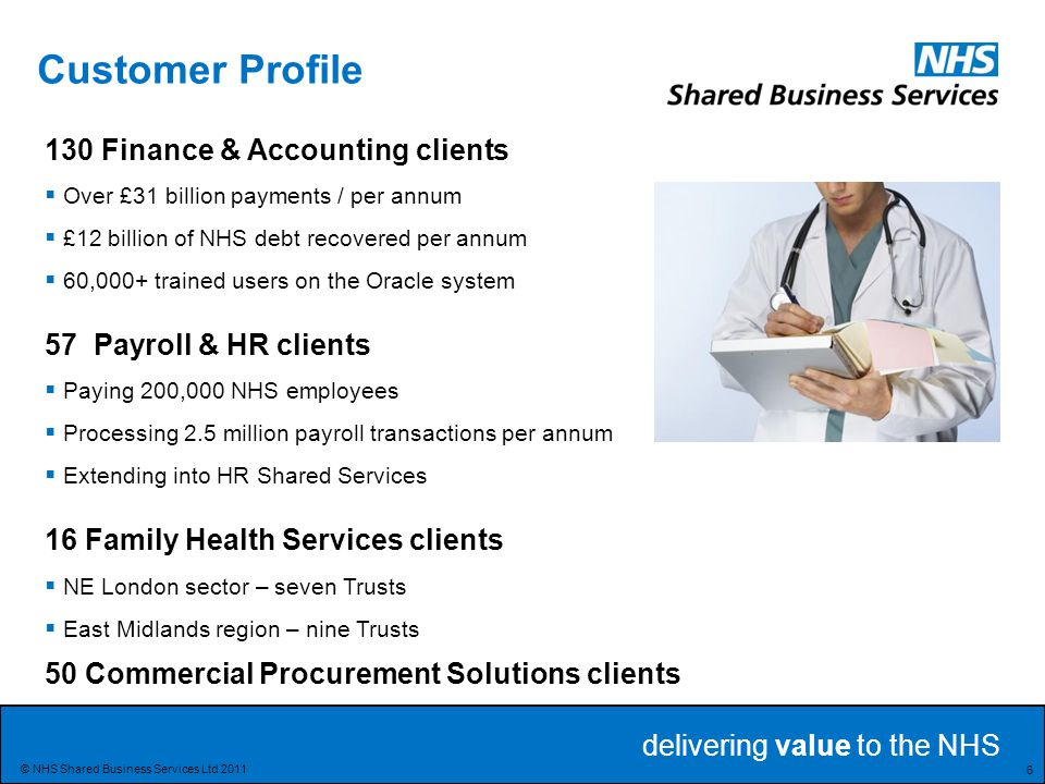 delivering value to the NHS 37 © NHS Shared Business Services Ltd 2011 Purchase to Pay 5% Returns 25,000+ Payments Runs 175,000 Suppliers 40% PO 60% Non PO