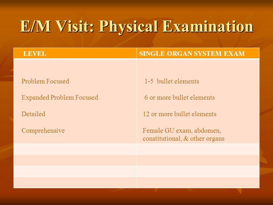 E/M Visit: Physical Examination LEVELSINGLE ORGAN SYSTEM EXAM Problem Focused Expanded Problem Focused Detailed Comprehensive 1-5 bullet elements 6 or