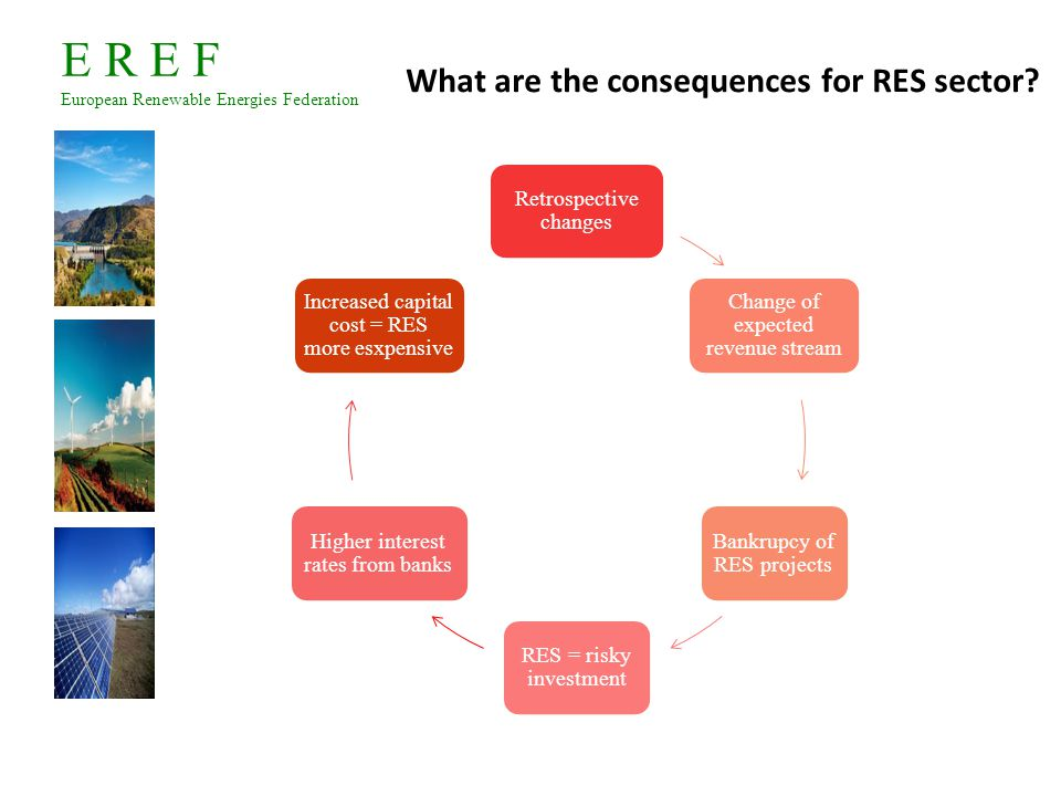 E R E F European Renewable Energies Federation The support of the European Commission against retrospective changes The European Commission has always strongly and openly criticized retroactive and retrospective changes.