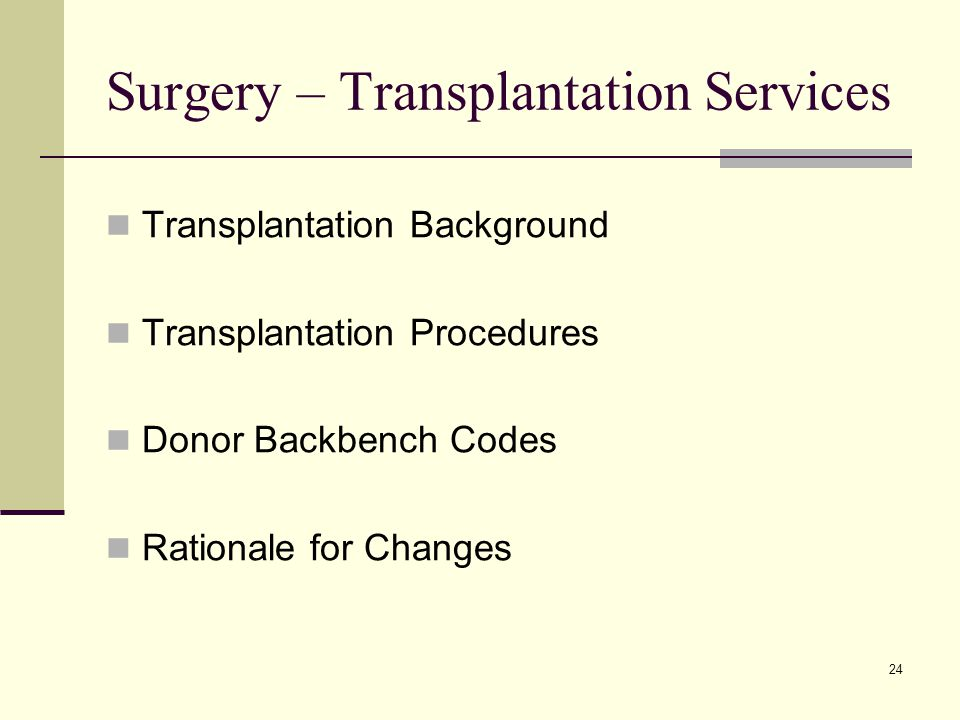 24 Surgery – Transplantation Services Transplantation Background Transplantation Procedures Donor Backbench Codes Rationale for Changes