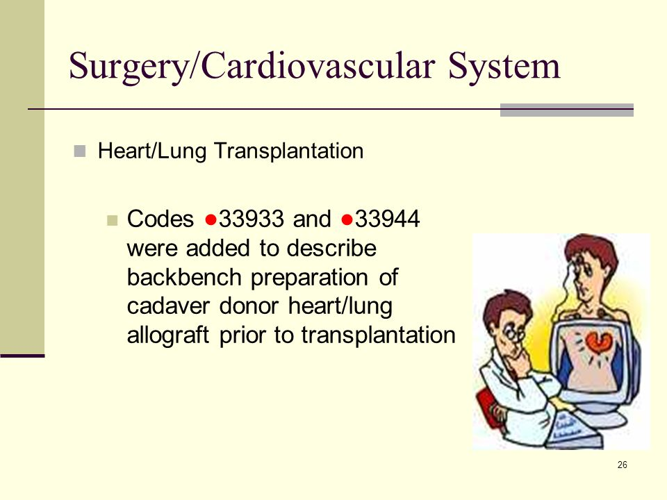 26 Surgery/Cardiovascular System Heart/Lung Transplantation Codes ● 33933 and ● 33944 were added to describe backbench preparation of cadaver donor heart/lung allograft prior to transplantation