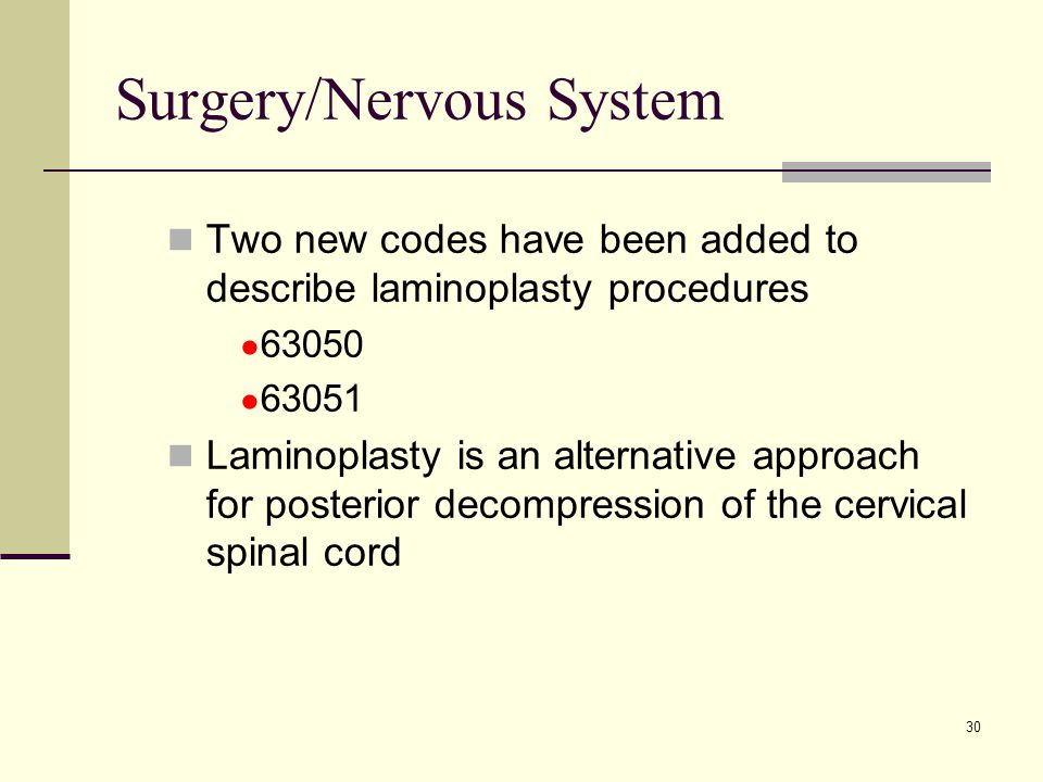 30 Surgery/Nervous System Two new codes have been added to describe laminoplasty procedures ● 63050 ● 63051 Laminoplasty is an alternative approach for posterior decompression of the cervical spinal cord