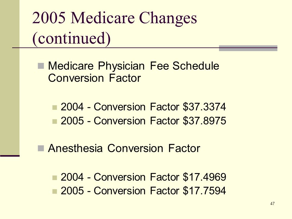 47 2005 Medicare Changes (continued) Medicare Physician Fee Schedule Conversion Factor 2004 - Conversion Factor $37.3374 2005 - Conversion Factor $37.8975 Anesthesia Conversion Factor 2004 - Conversion Factor $17.4969 2005 - Conversion Factor $17.7594