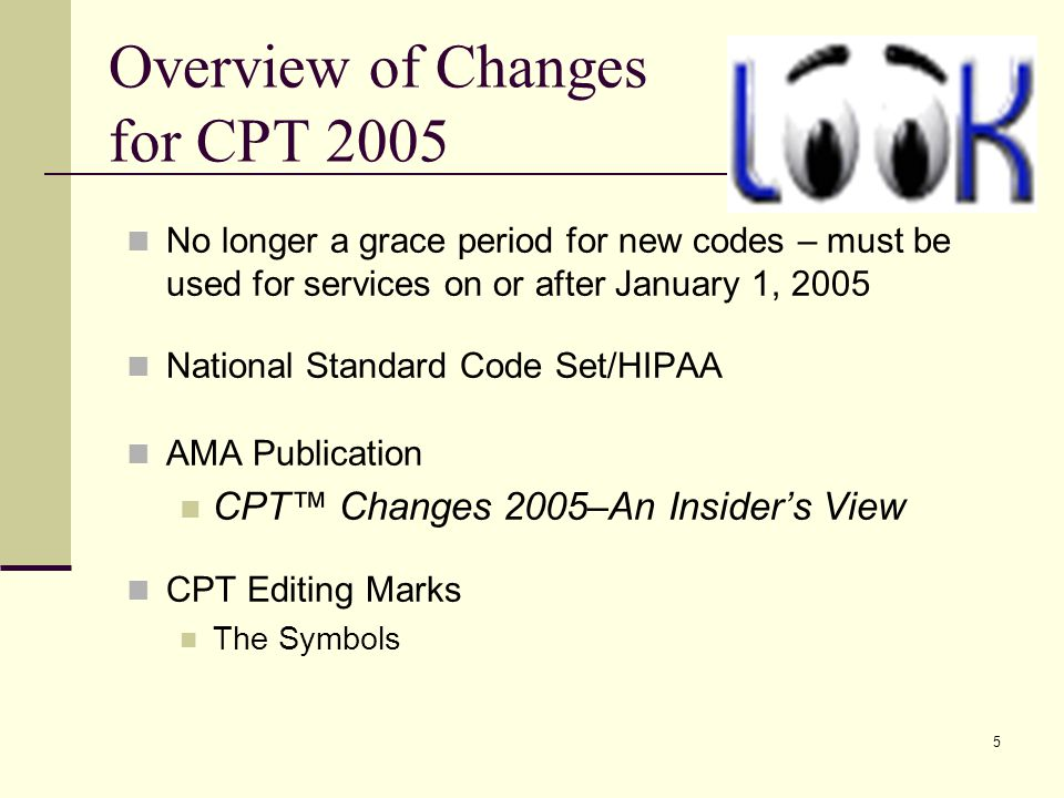66 Other 2005 Changes CPT 2005 Errata www.ama-assn.org 2005 Medicare Physician Fee Schedule HCPCS 2005 Additions, Revisions, and Deletions 2005 ICD-9-CM Diagnosis Codes Effective Oct.