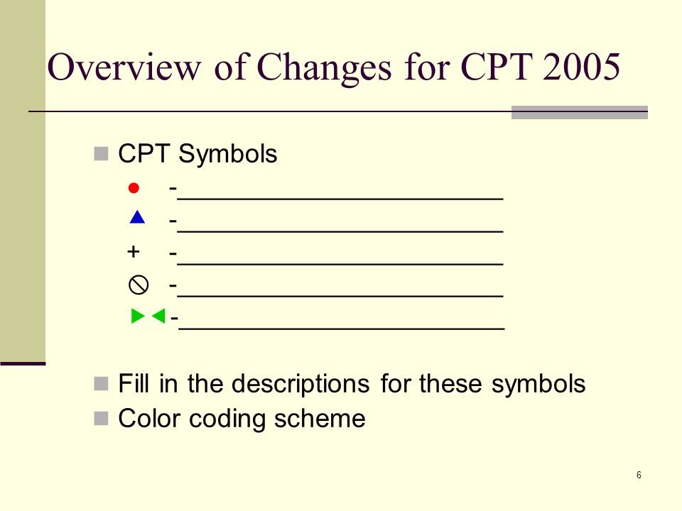 6 Overview of Changes for CPT 2005 CPT Symbols ● -________________________  -________________________ + -________________________  -________________________  -________________________ Fill in the descriptions for these symbols Color coding scheme
