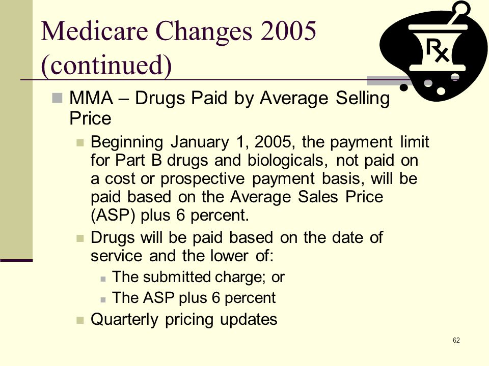 62 Medicare Changes 2005 (continued) MMA – Drugs Paid by Average Selling Price Beginning January 1, 2005, the payment limit for Part B drugs and biologicals, not paid on a cost or prospective payment basis, will be paid based on the Average Sales Price (ASP) plus 6 percent.