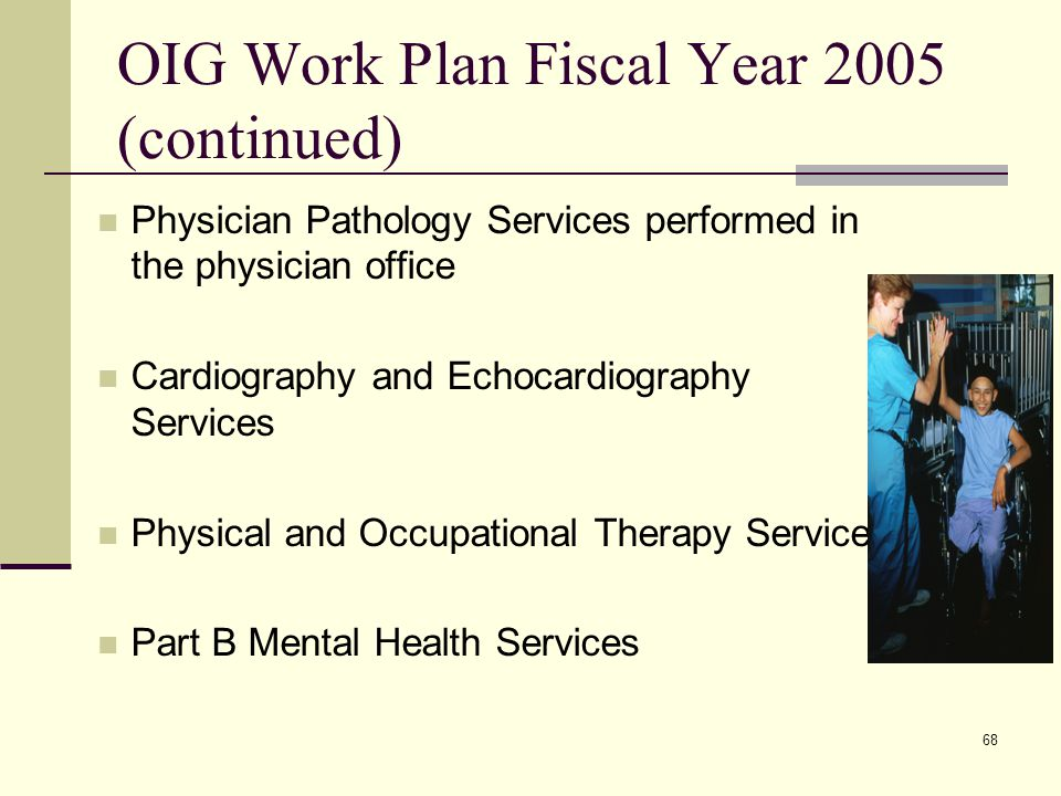 68 OIG Work Plan Fiscal Year 2005 (continued) Physician Pathology Services performed in the physician office Cardiography and Echocardiography Services Physical and Occupational Therapy Services Part B Mental Health Services