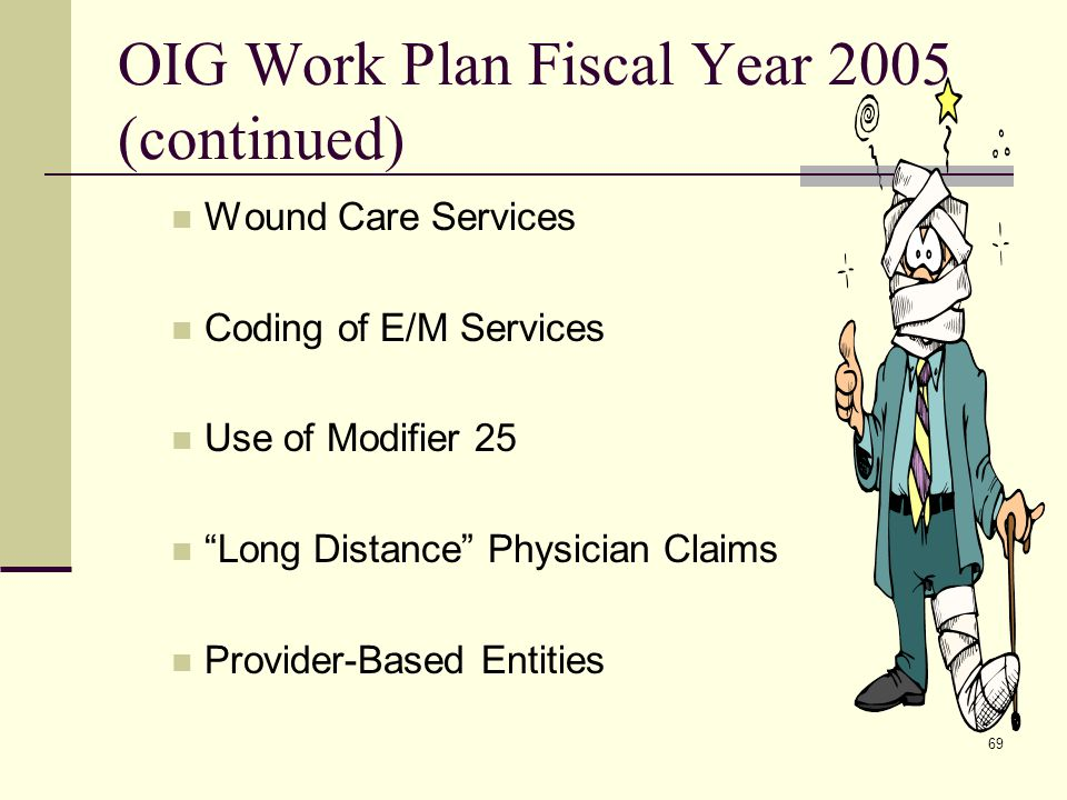 69 OIG Work Plan Fiscal Year 2005 (continued) Wound Care Services Coding of E/M Services Use of Modifier 25 Long Distance Physician Claims Provider-Based Entities