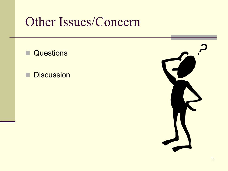 71 Other Issues/Concern Questions Discussion