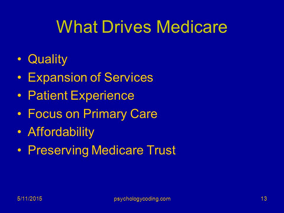 What Drives Medicare Quality Expansion of Services Patient Experience Focus on Primary Care Affordability Preserving Medicare Trust 5/11/201513psychol