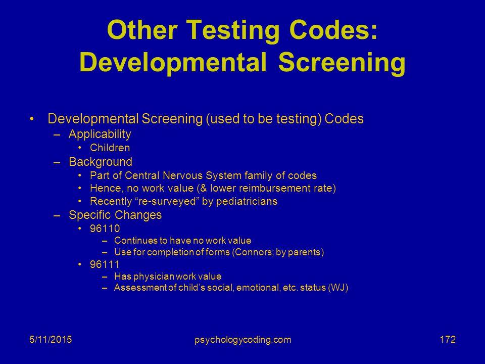 5/11/2015 Other Testing Codes: Developmental Screening Developmental Screening (used to be testing) Codes –Applicability Children –Background Part of