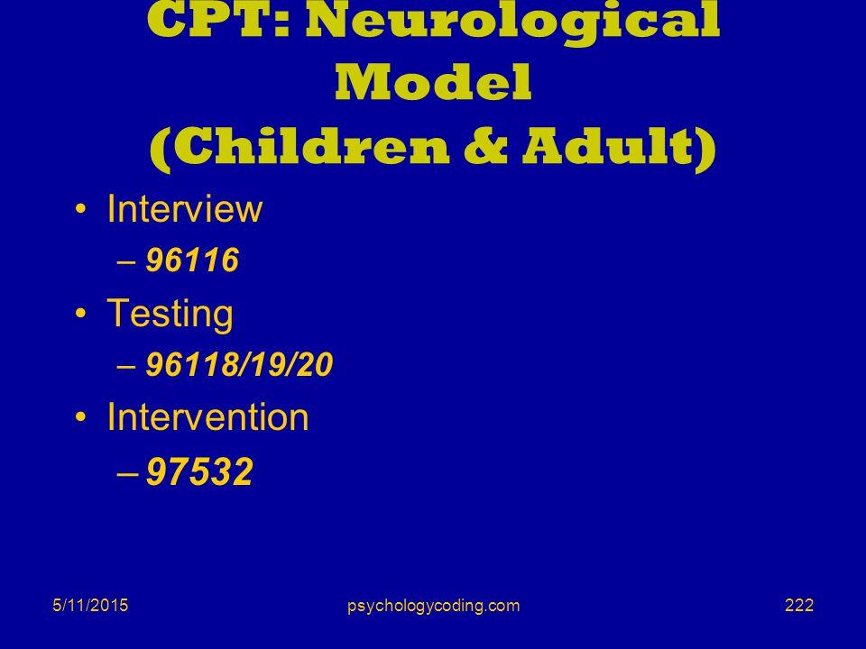 5/11/2015 CPT: Neurological Model (Children & Adult) Interview –96116 Testing –96118/19/20 Intervention –97532 222psychologycoding.com