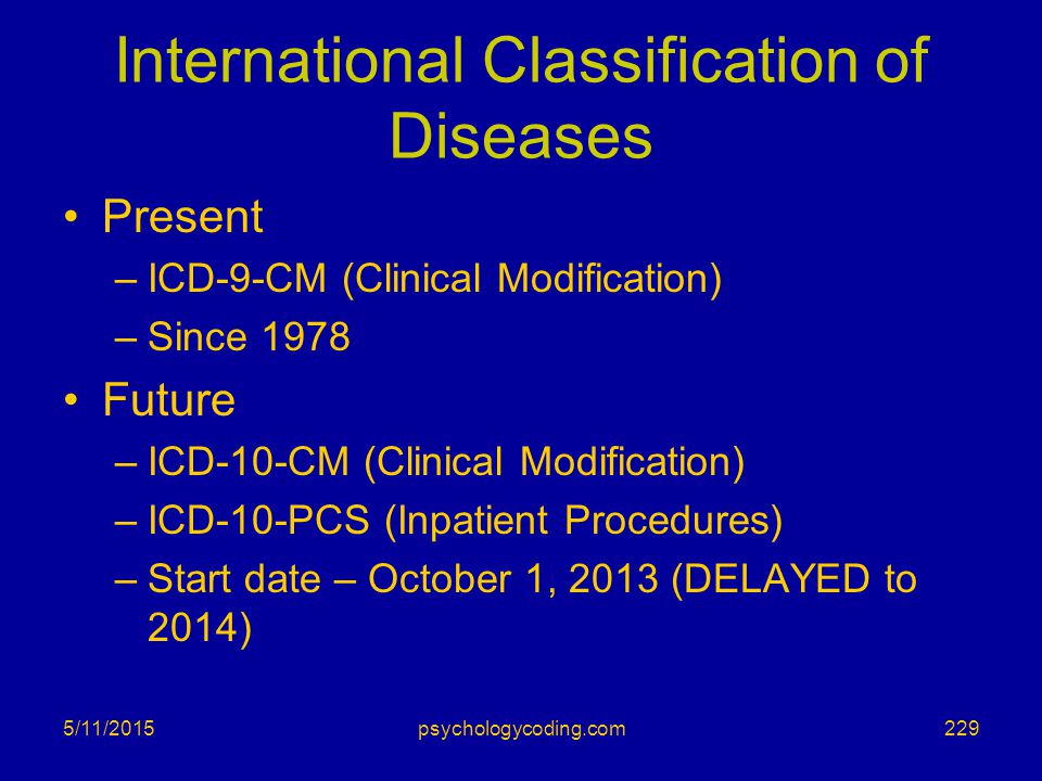 International Classification of Diseases Present –ICD-9-CM (Clinical Modification) –Since 1978 Future –ICD-10-CM (Clinical Modification) –ICD-10-PCS (