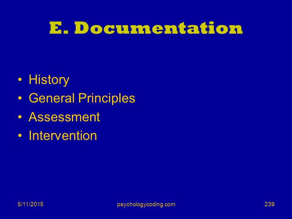 5/11/2015 E. Documentation History General Principles Assessment Intervention 239psychologycoding.com