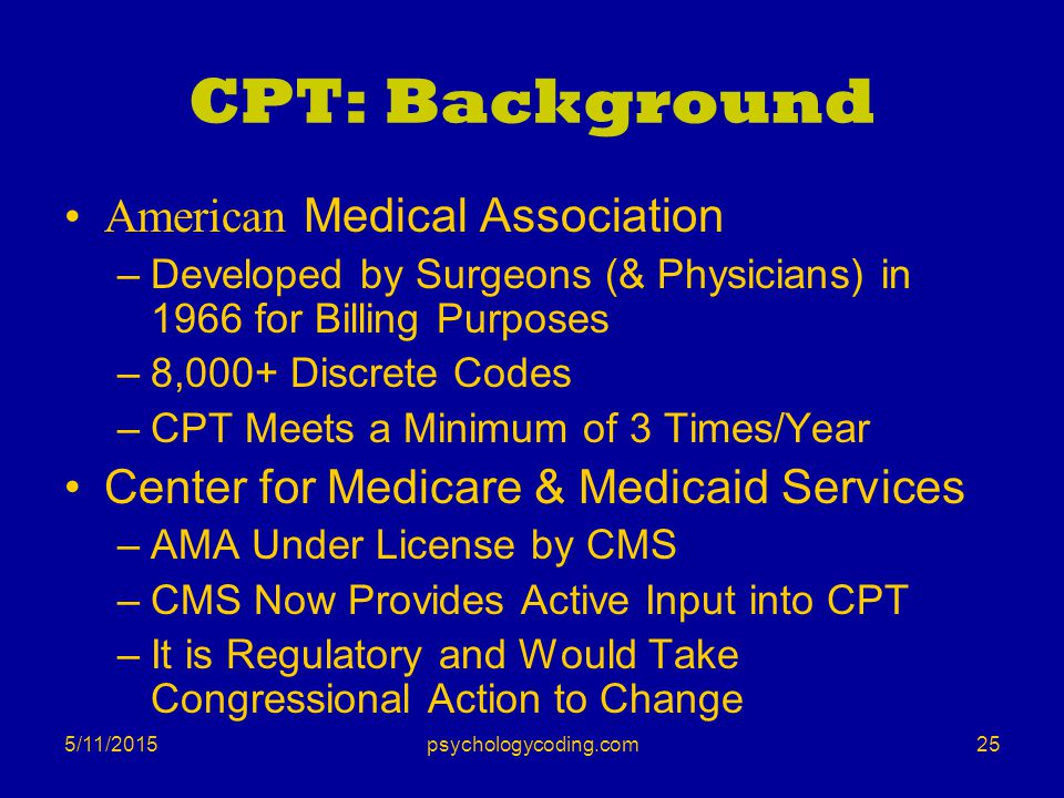 5/11/2015 CPT: Background American Medical Association –Developed by Surgeons (& Physicians) in 1966 for Billing Purposes –8,000+ Discrete Codes –CPT