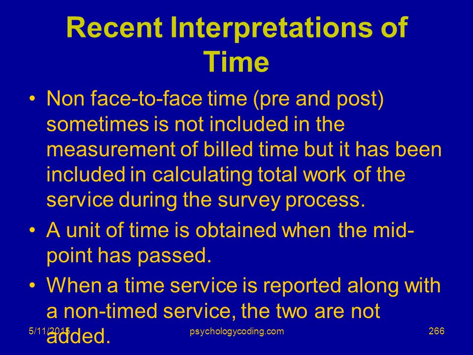Recent Interpretations of Time Non face-to-face time (pre and post) sometimes is not included in the measurement of billed time but it has been includ