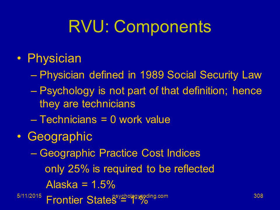 RVU: Components Physician –Physician defined in 1989 Social Security Law –Psychology is not part of that definition; hence they are technicians –Techn