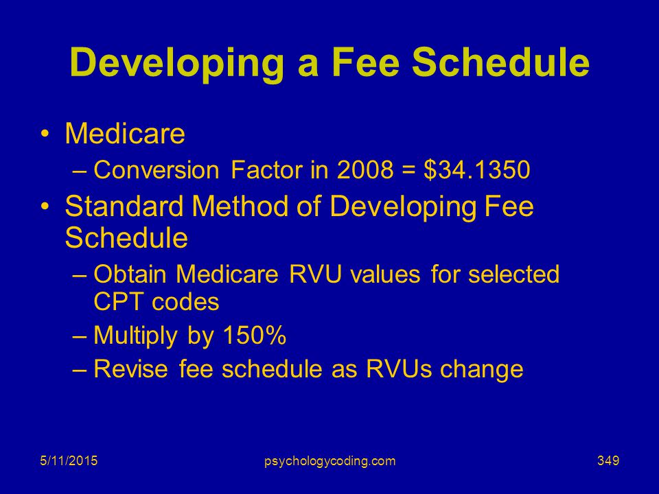 5/11/2015 Developing a Fee Schedule Medicare –Conversion Factor in 2008 = $34.1350 Standard Method of Developing Fee Schedule –Obtain Medicare RVU val