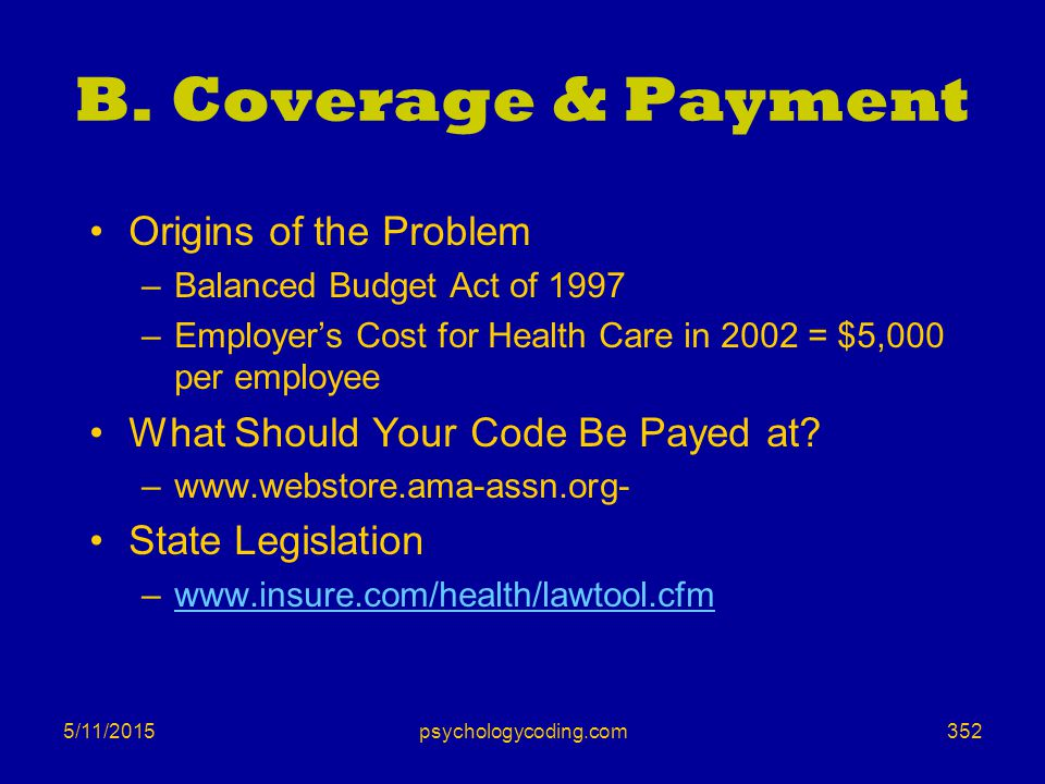 5/11/2015 B. Coverage & Payment Origins of the Problem –Balanced Budget Act of 1997 –Employer's Cost for Health Care in 2002 = $5,000 per employee Wha