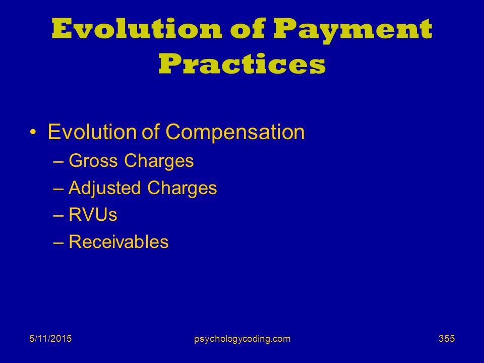 5/11/2015 Evolution of Payment Practices Evolution of Compensation –Gross Charges –Adjusted Charges –RVUs –Receivables 355psychologycoding.com