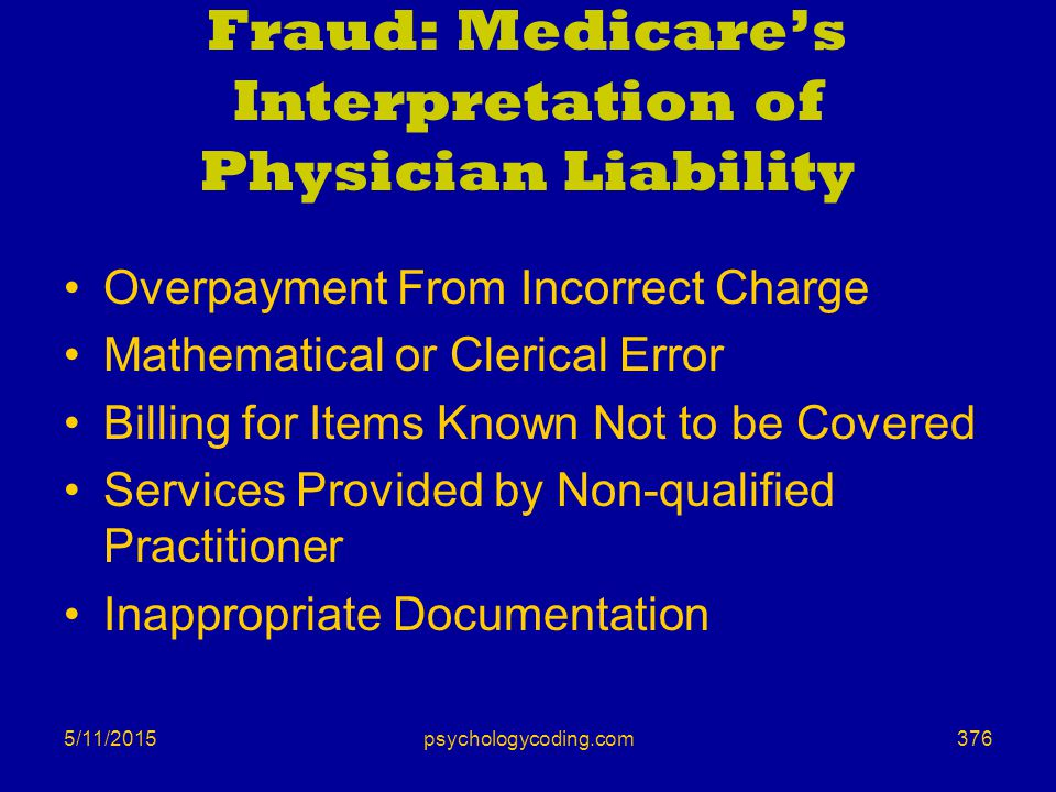 5/11/2015 Fraud: Medicare's Interpretation of Physician Liability Overpayment From Incorrect Charge Mathematical or Clerical Error Billing for Items K