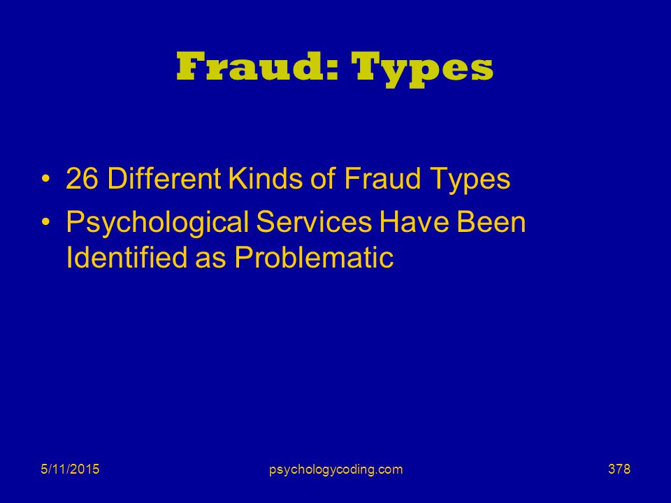 5/11/2015 Fraud: Types 26 Different Kinds of Fraud Types Psychological Services Have Been Identified as Problematic 378psychologycoding.com