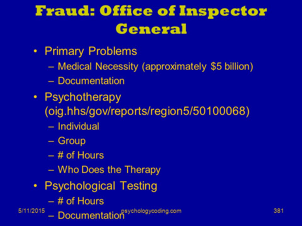 5/11/2015 Fraud: Office of Inspector General Primary Problems –Medical Necessity (approximately $5 billion) –Documentation Psychotherapy (oig.hhs/gov/