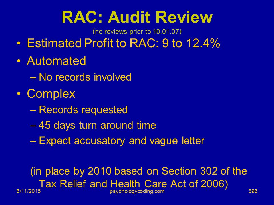 5/11/2015 RAC: Audit Review ( no reviews prior to 10.01.07 ) Estimated Profit to RAC: 9 to 12.4% Automated –No records involved Complex –Records reque