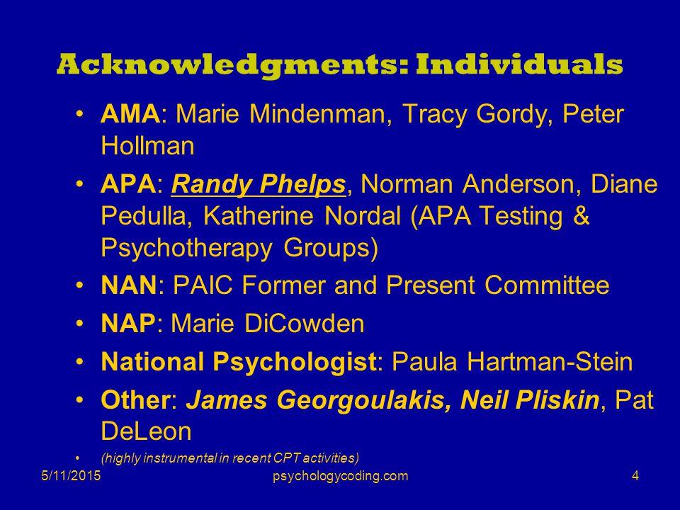 Acknowledgments: Individuals AMA: Marie Mindenman, Tracy Gordy, Peter Hollman APA: Randy Phelps, Norman Anderson, Diane Pedulla, Katherine Nordal (APA