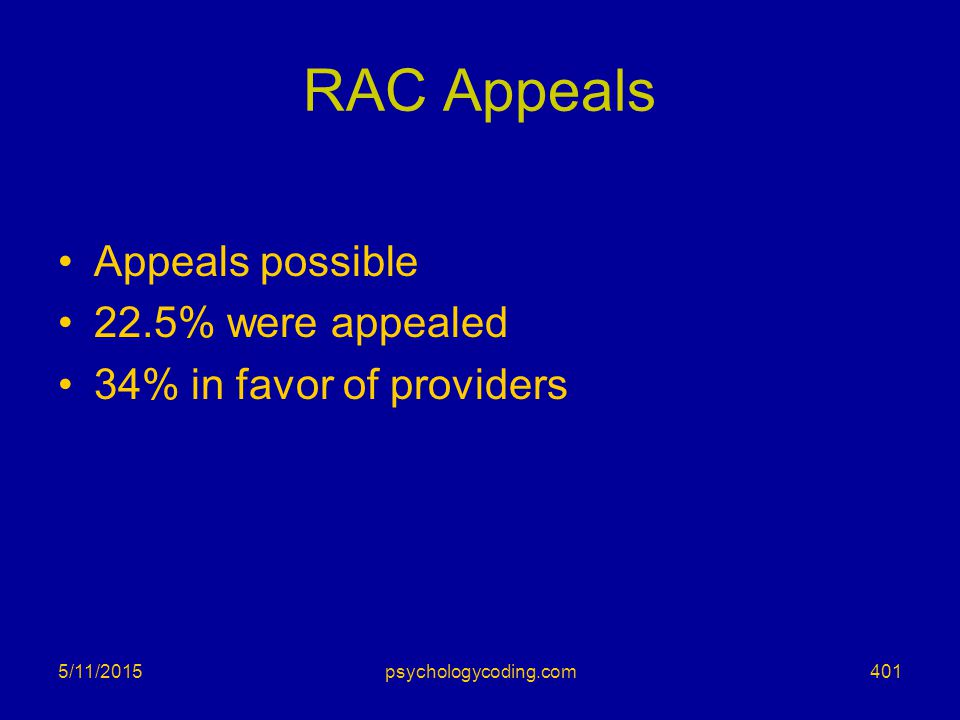 RAC Appeals Appeals possible 22.5% were appealed 34% in favor of providers 5/11/2015401psychologycoding.com