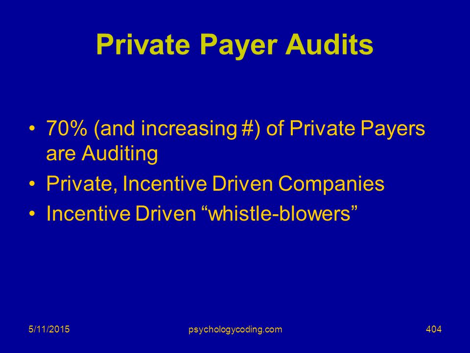 """5/11/2015 Private Payer Audits 70% (and increasing #) of Private Payers are Auditing Private, Incentive Driven Companies Incentive Driven """"whistle-blo"""