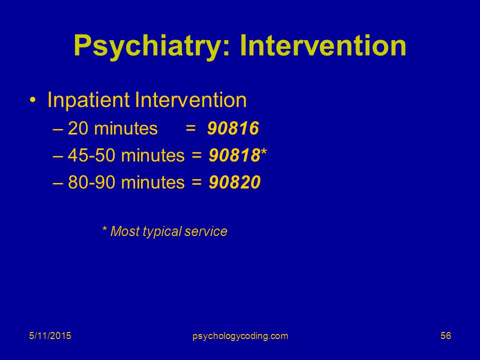 5/11/2015 Psychiatry: Intervention Inpatient Intervention –20 minutes = 90816 –45-50 minutes = 90818* –80-90 minutes = 90820 * Most typical service 56