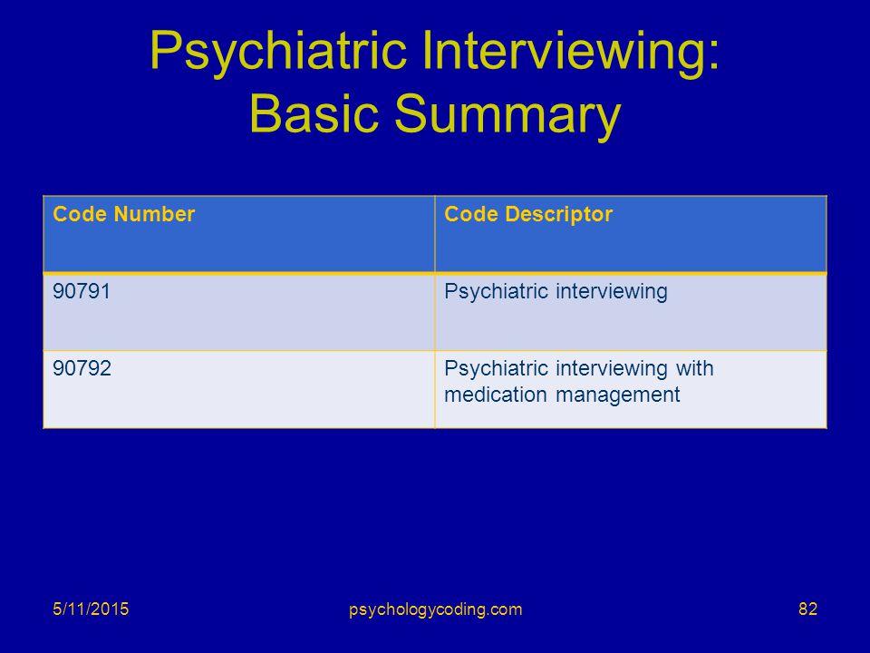 Psychiatric Interviewing: Basic Summary Code NumberCode Descriptor 90791Psychiatric interviewing 90792Psychiatric interviewing with medication managem
