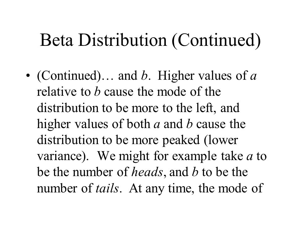 Beta Distribution (Continued) (Continued)… and b.