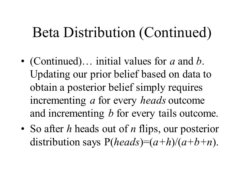 Beta Distribution (Continued) (Continued)… initial values for a and b.