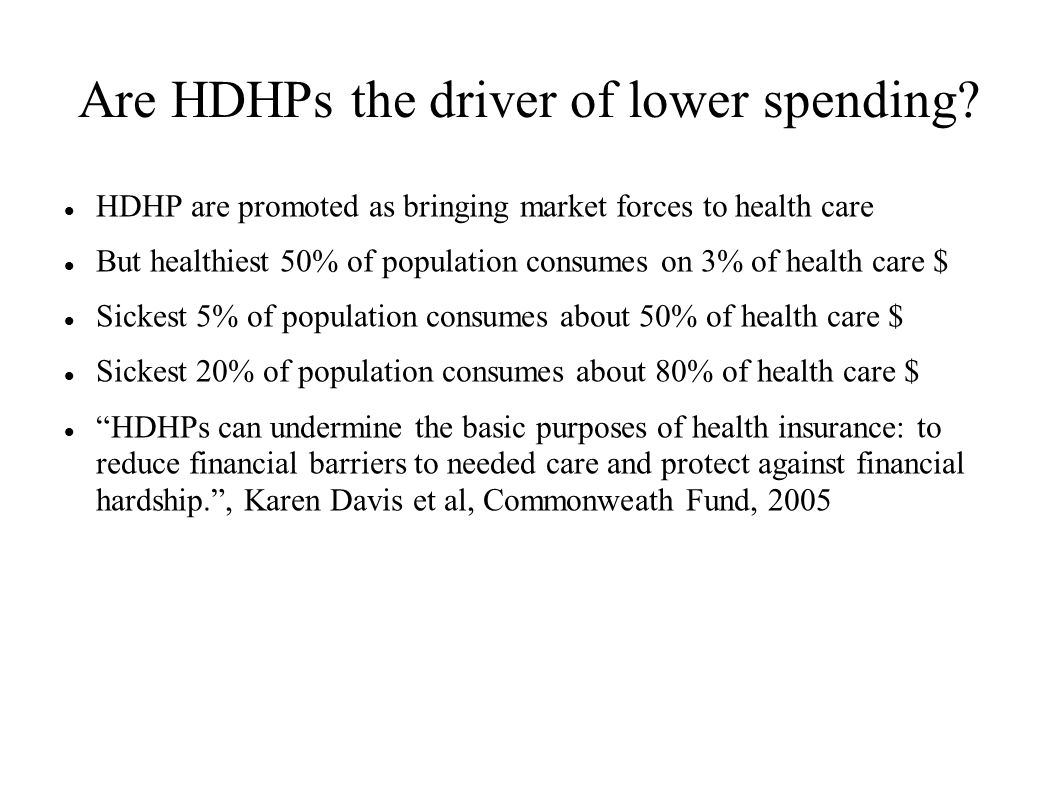 Are HDHPs the driver of lower spending.