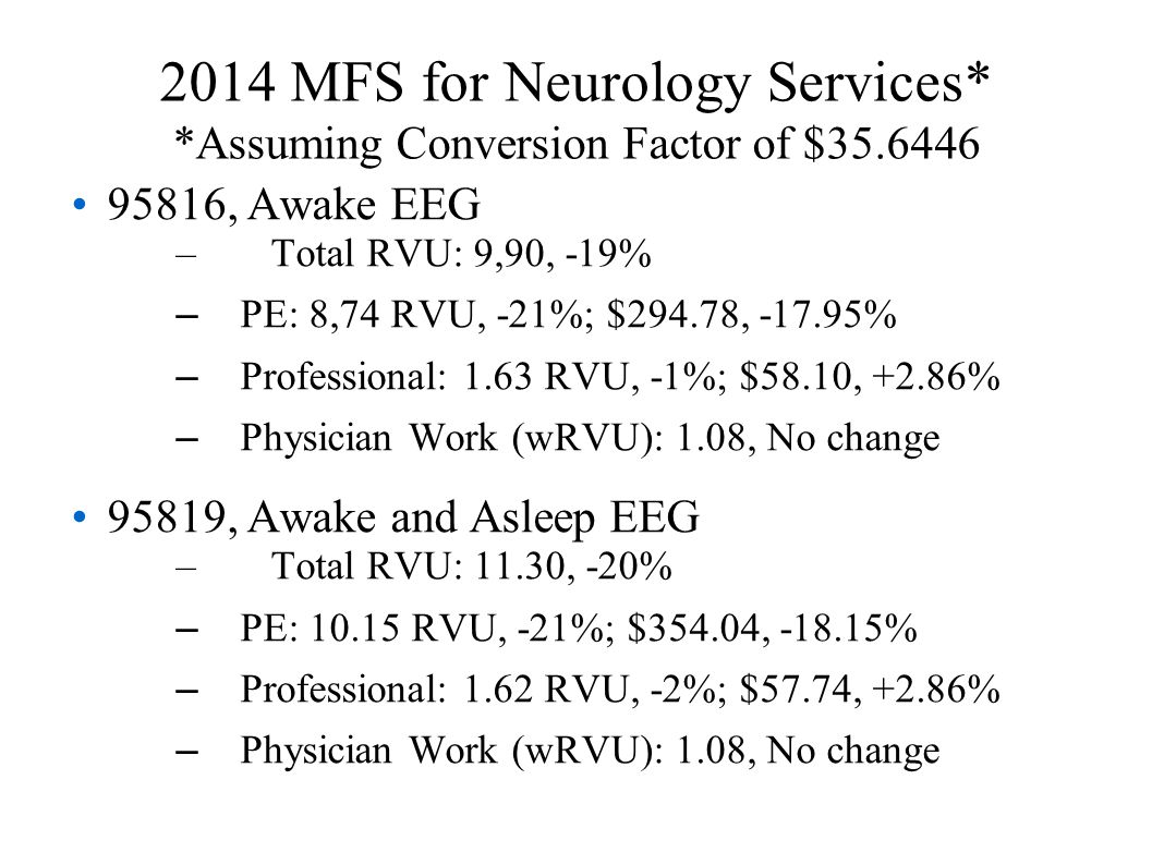 2014 MFS for Neurology Services* *Assuming Conversion Factor of $35.6446 95816, Awake EEG – Total RVU: 9,90, -19% – PE: 8,74 RVU, -21%; $294.78, -17.95% – Professional: 1.63 RVU, -1%; $58.10, +2.86% – Physician Work (wRVU): 1.08, No change 95819, Awake and Asleep EEG – Total RVU: 11.30, -20% – PE: 10.15 RVU, -21%; $354.04, -18.15% – Professional: 1.62 RVU, -2%; $57.74, +2.86% – Physician Work (wRVU): 1.08, No change