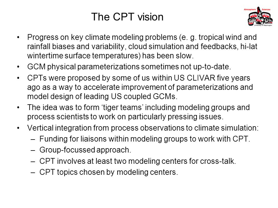 The CPT vision Progress on key climate modeling problems (e.