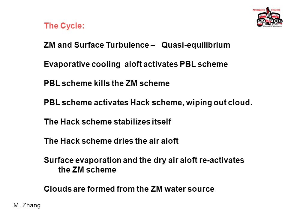 The Cycle: ZM and Surface Turbulence – Quasi-equilibrium Evaporative cooling aloft activates PBL scheme PBL scheme kills the ZM scheme PBL scheme activates Hack scheme, wiping out cloud.