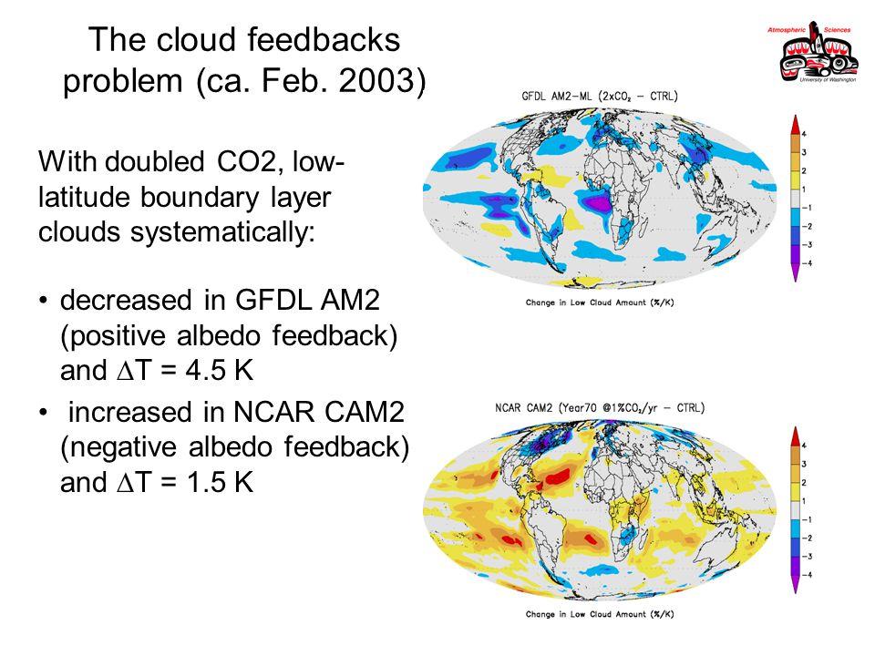 The cloud feedbacks problem (ca. Feb.
