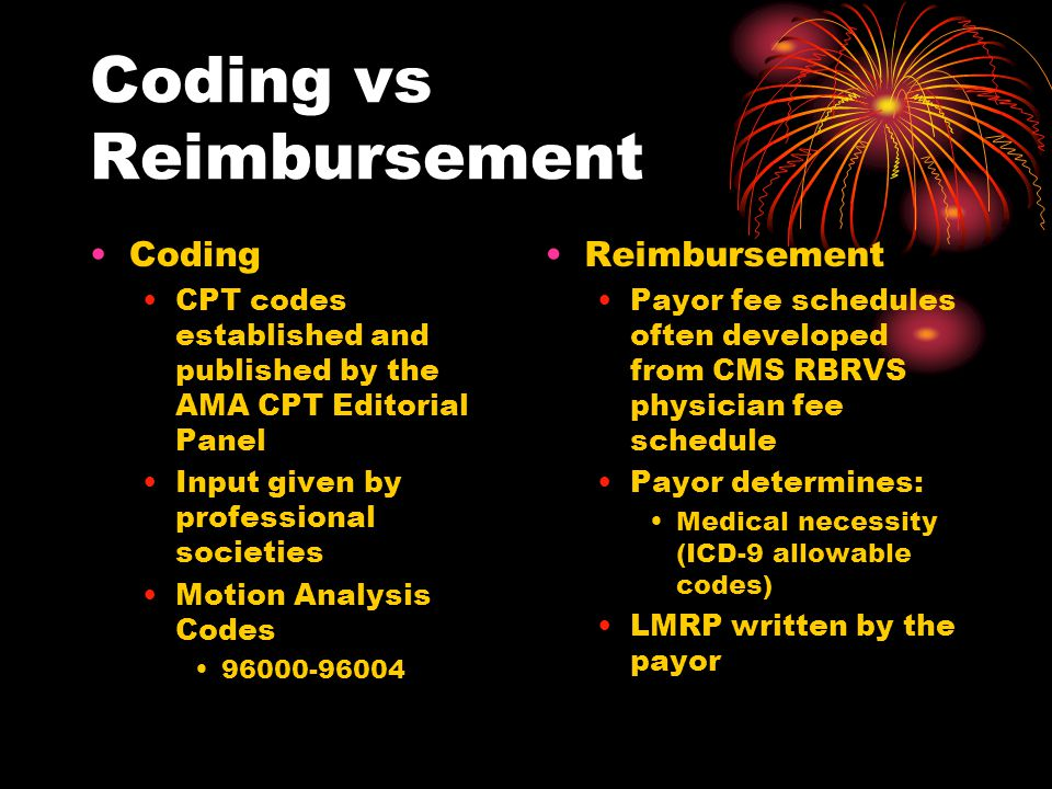 Objectives 1.Describe the differences between coding and reimbursement rules.