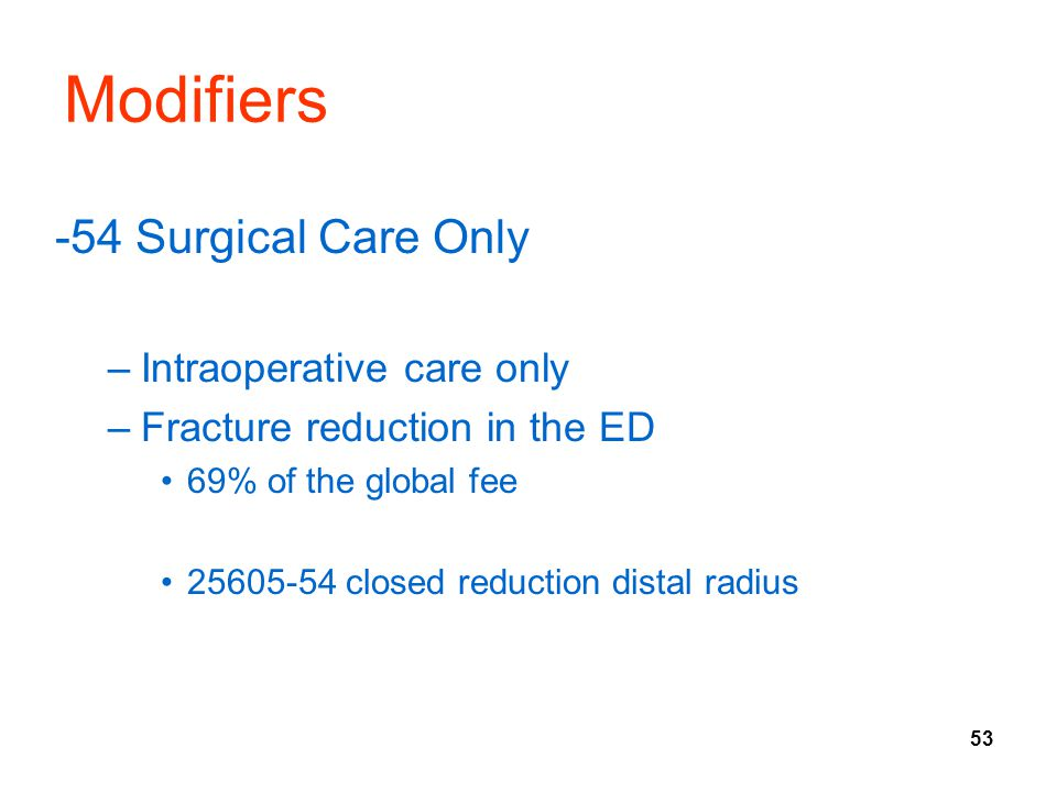 53 Modifiers -54 Surgical Care Only –Intraoperative care only –Fracture reduction in the ED 69% of the global fee 25605-54 closed reduction distal radius