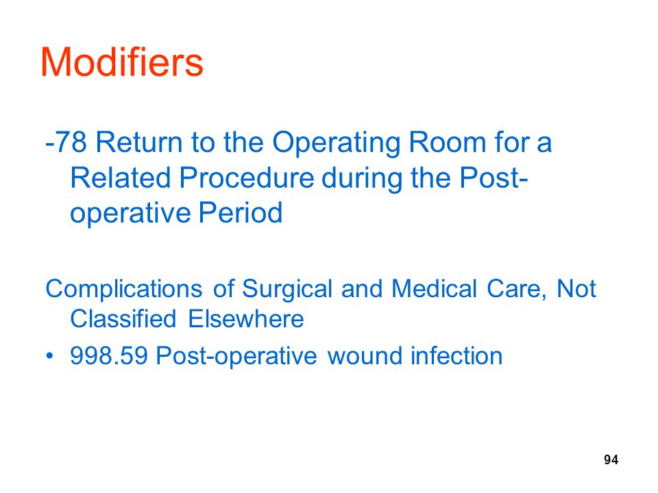 94 Modifiers -78 Return to the Operating Room for a Related Procedure during the Post- operative Period Complications of Surgical and Medical Care, Not Classified Elsewhere 998.59 Post-operative wound infection