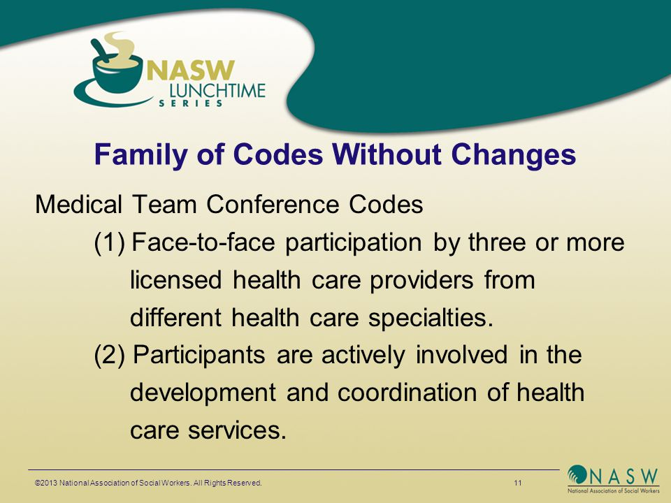 Family of Codes Without Changes Medical Team Conference Codes (1)Face-to-face participation by three or more licensed health care providers from diffe